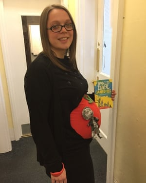 The World Book Day fun continues at Kingham Hill School Mrs Harper finds a creative way to use her baby bump for her World Book Day outfit.