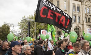 Protesters in Hannover at a march against the TTIP and CETA free trade agreements on the eve of a visit by Barack Obama