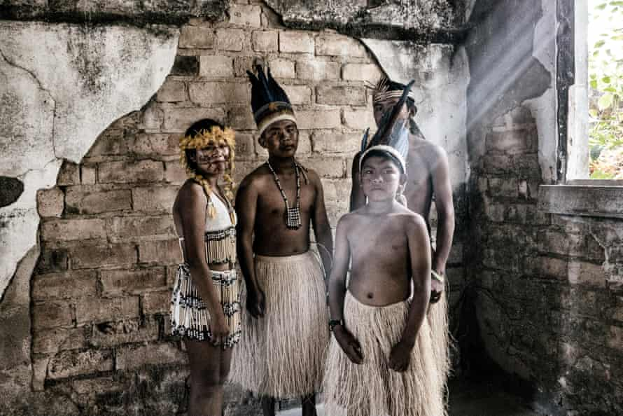 A group of young Macuxi people at the Indigenous Education and Culture Centre, in Surumu.