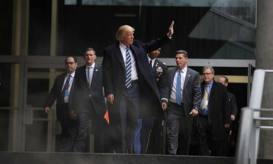 President Trump leaves the CIA headquarters in Virginia.
