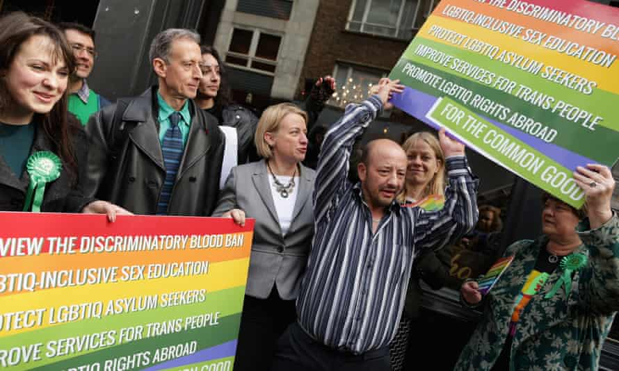 Green Party leader Natalie Bennett (centre) at a rally on Old Compton Street, London during the 2015 general election campaign.