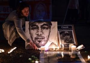 A vigil for Omid Masoumali in Sydney.