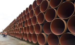 Steel pipes for the Nord Stream 2 pipeline stacked in Sassnitz, Germany