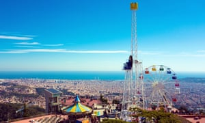 Barcelona from Mount Tibidabo, with the famous amusement park.