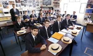 Students in Dr Hugh McCormick's lower sixth politics division at Harrow school