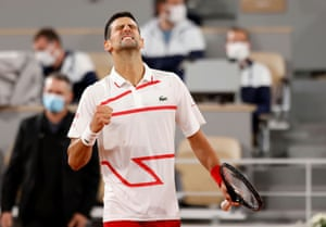 Novak Djokovic celebrates winning his first round match against Mikael Ymer.