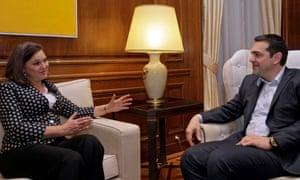 Alexis Tsipras meets Victoria Nuland in Athens.