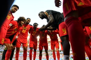 Romelu Lukaku, one of nine changes to the Belgium team, gives a team-talk before kick-off.
