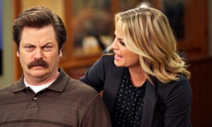 Nick Offerman and Amy Poehler in Parks and Recreation.