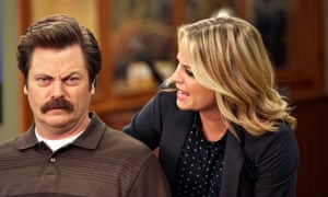 Politics and Recreation: (l-r) Nick Offerman as Ron Swanson, Amy Poehler as Leslie Knope