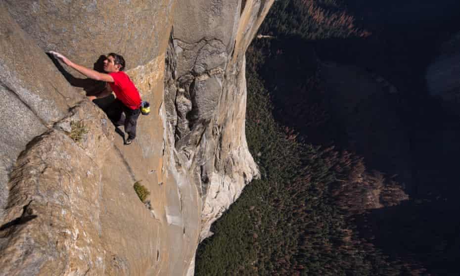 'Buttock-clenchingly tense' … Alex Honnold climbs El Capitan in Yosemite, California.