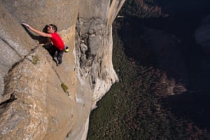 Alex Honnold free soloing El Capitan's Freerider route in Yosemite national park.