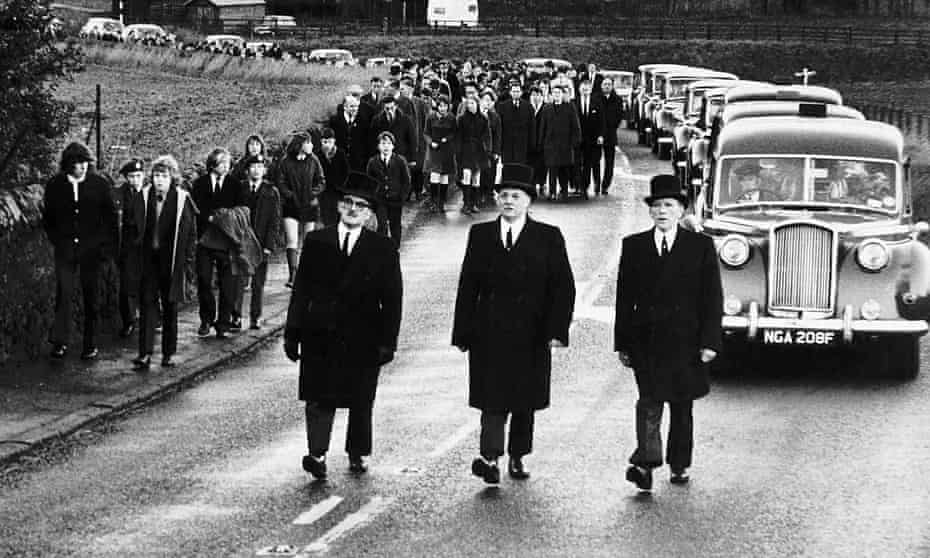 The funeral of Peter Easton, Douglas Morrison and Bryan Todd, three teenagers from Markinch who died at Ibrox in 1971.