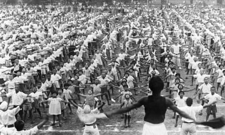 A mass calisthenics exhibition staged by children in a Tokyo park on the occasion of the 2,600th anniversary of the Japanese Empire's founding.