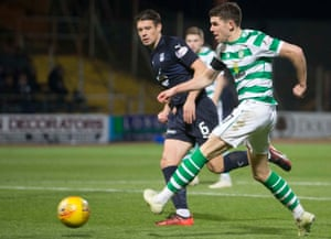 Celtic's Ryan Christie fires in their fifth goal of the game.