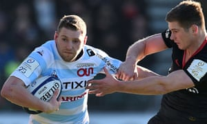 Racing 92's Scottish fly-half Finn Russell in action against Saracens.