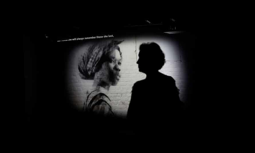 A visitor watches a video presentation at James Madison's Montpelier in Orange county, Virginia.