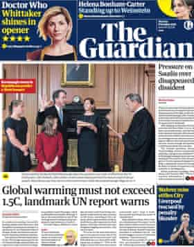 Guardian front page, Monday 8 October 2018