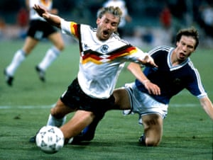 Rudi Völler takes a fall that and won a deciding penalty for West Germany in the 1990 World Cup final against Argentina.