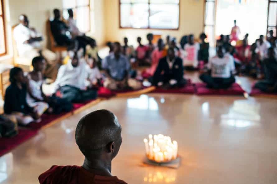 Inside the Uganda Buddhist Centre, south of Kampala, on Vesak day.