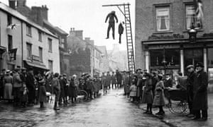Effigies of the Kaiser, Wilhelm II, and his son, 'Little Willie', are hanged in Brackley, Northamptonshire on Armistice Day.
