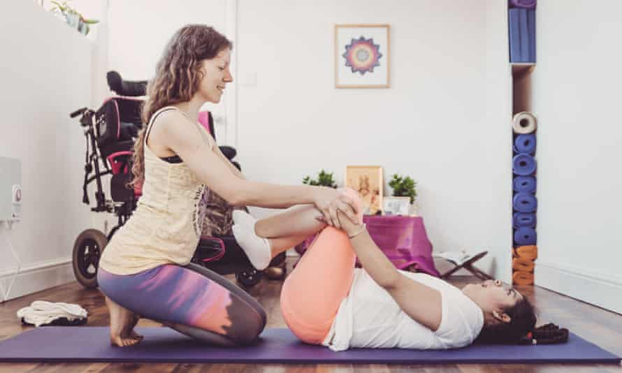 Tyler receives yoga therapy at MahaDevi, located in a student housing block in Islington.