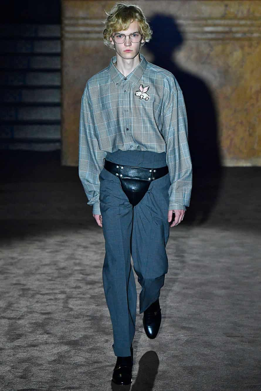 A model wears a codpiece during a Gucci show at Paris fashion week