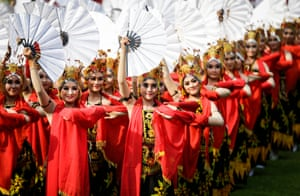 Jakarta, Indonesia Dancers perform at an Independence Day ceremony at the presidential Merdeka Palace