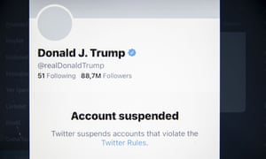 Trump's permanently suspended Twitter account.