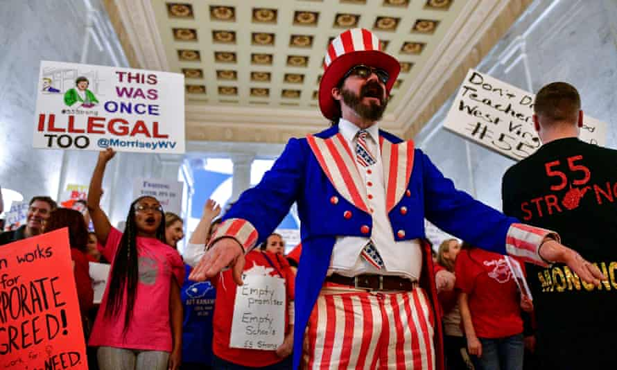 Parry Casto, from Huntington, West Virginia, leads a rally outside the senate chambers in Charleston last month.