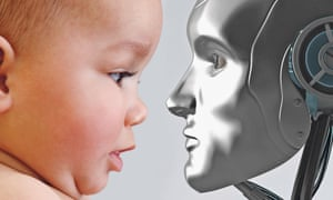 robot and baby composite illustration