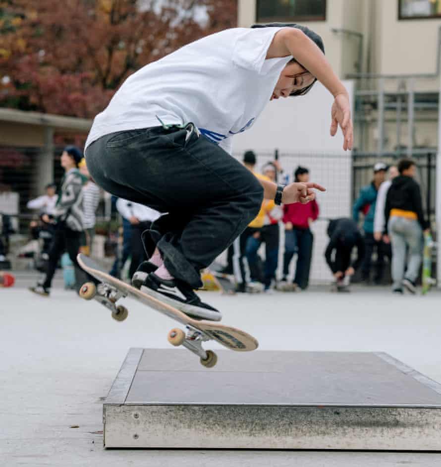 Yuri does a pop shuvit off a ledge at Komazawa skatepark in Tokyo, Japan.