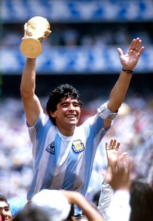Maradona celebrates World Cup victory in 1986 after the final between Argentina and West Germany at Estadio Azteca, in Mexico City
