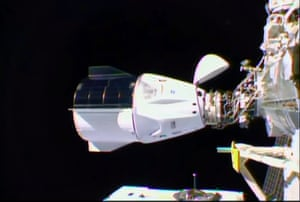 The SpaceX Crew Dragon docks to the International Space Station