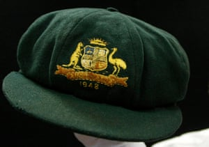 Sir Donald Bradman's 1948 Invincibles baggy green, which has been sold on two occasions since it was put under the hammer by Derek Robins, to whom the cricket great had presented it when Robins was a schoolboy.