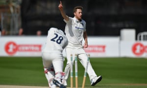 Ollie Robinson of Sussex celebrates after bowling Stephen Eskinazi of Middlesex during the County Championship division two match at Hove.