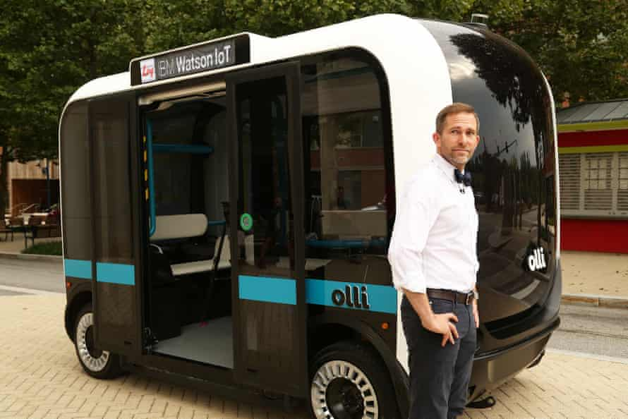 Local Motors CEO and co-founder John B Rogers, Jr, introduces Olli, a 12-passenger self-driving shuttle, in Fort Washington, Maryland. Olli uses the cognitive computing ability of IBM Watson.