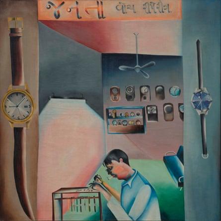 Janata Watch Repairing (1972) by Bhupen Khakhar