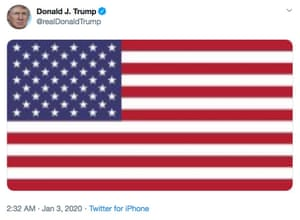 A tweet by the US president, Donald Trump, following the attack