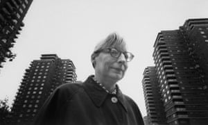 Writer Jane Jacobs walking on streets of New York.