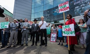 A demonstration outside the National Media Museum in Bradford.