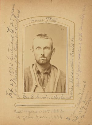 "George E Swain, alias Sargeant, Horse Thief, June 1886. From Album of Criminal ""Mug Shots,"" by AM Bean c 1875 – 1886. Unknown US photograph, albumen silver"