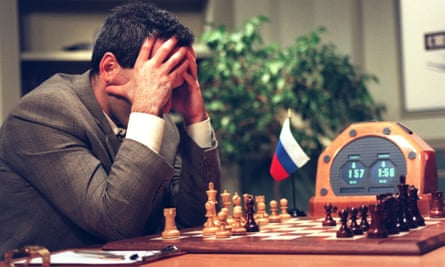 Garry Kasparov plays against the IBM Deep Blue computer in 1997.