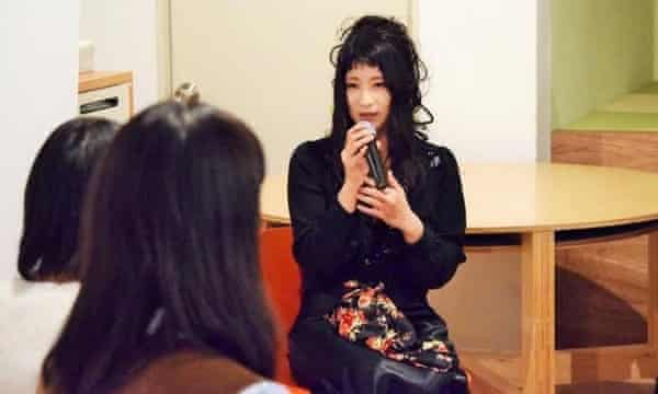 Kurumin Aroma talks at a public event about her experience of being forced to appear in pornographic films.