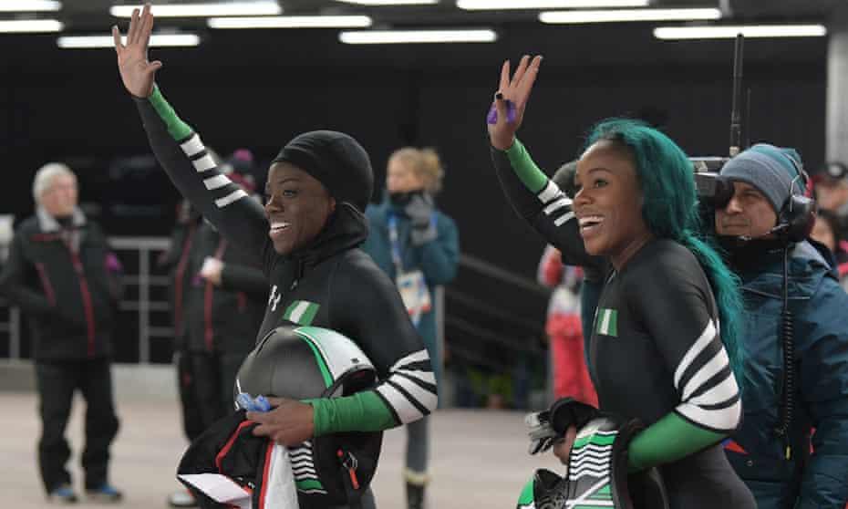Nigeria's Seun Adigun (left) and Akuoma Omeoga after their historic bobsleigh run.
