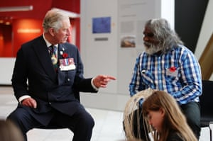 Meanwhile ... the Prince speaks with Girramay traditional and master basket maker Abe Muriata during a visit to the National Museum of Australia.
