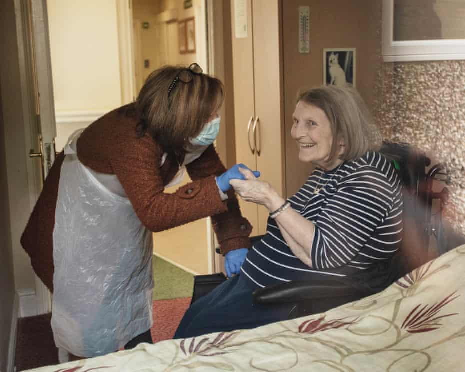 Belinda Long and her mom, shot through her mom's window