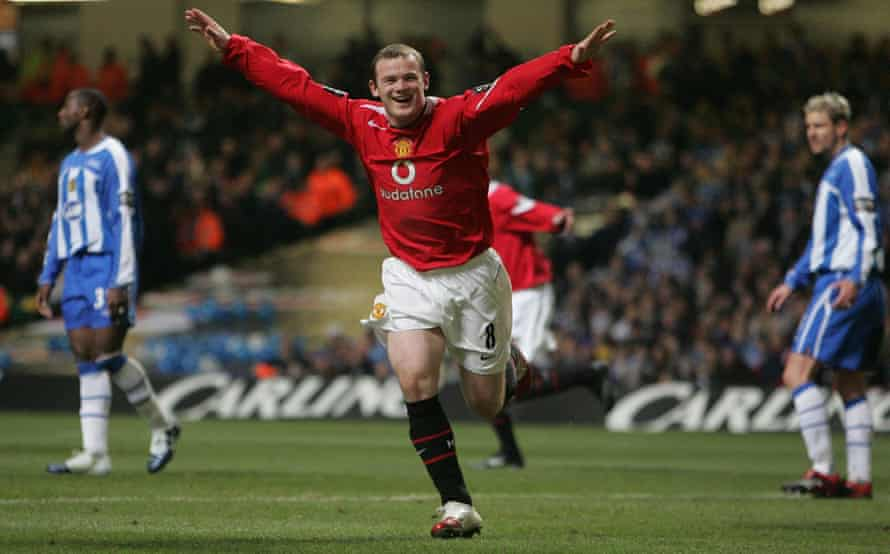 Wayne Rooney celebrates one of his record 253 goals for Manchester United.