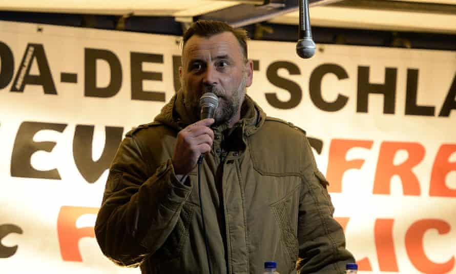 Pegida's Lutz Bachmann speaking at a rally in Dresden in 2015.