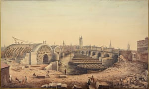 Old and New London Bridges, 1828, by Gideon Yates Bishopsgate Institute from Watercolour World.